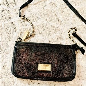 Betsey Johnson black leopard crossbody wallet bag